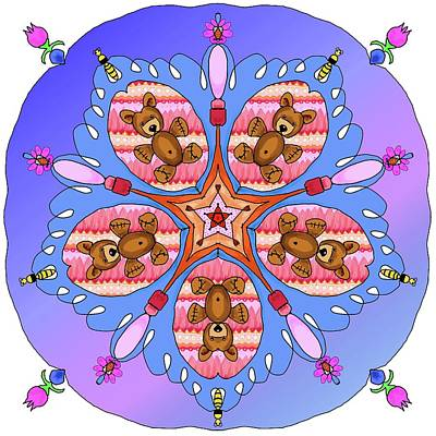 Digital Art - Kaleidoscope Of Bears And Bees by Debra Baldwin