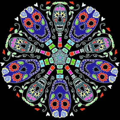 Digital Art - Kaleidoscope Of Skulls by Debra Baldwin