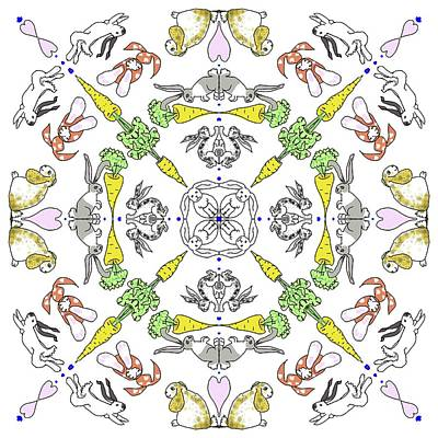 Digital Art - Kaleidoscope Rabbits by Debra Baldwin