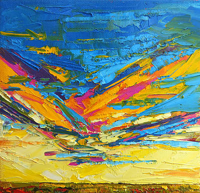Vivid Colour Painting - Kaleidoscope Sky At Sunset Modern Impressionistic Palette Knife Painting by Patricia Awapara