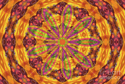 Digital Art - Kaleidoscope With Flower by Donna Munro