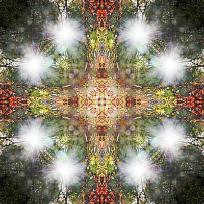 Digital Art - Kaleidoscopia - Flaring Cross by Frans Blok