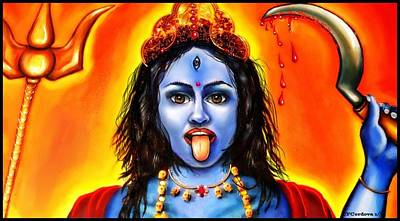 Spiritual Portrait Of Woman Digital Art - Kali -the Hindu Goddess by Carmen Cordova