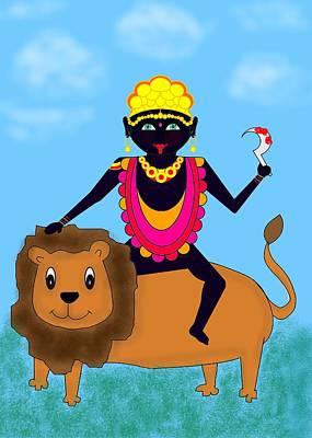 Painting - Kali Riding Lion by Pratyasha Nithin