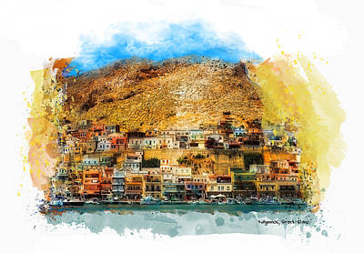 Boats In Water Mixed Media - Kalymnos Greek Island by Justyna JBJart