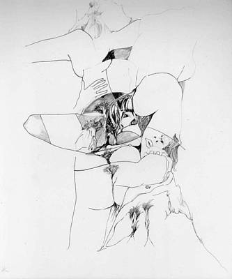 Abstract Forms Drawing - Kama Sutra by Padamvir Singh