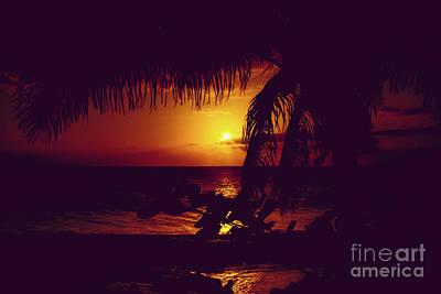 Kamaole Tropical Nights Sunset Gold Purple Palm Art Print by Sharon Mau
