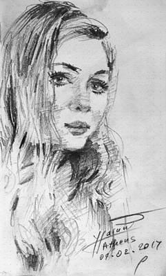 Pencil Portrait Wall Art - Drawing - Kamela by Ylli Haruni