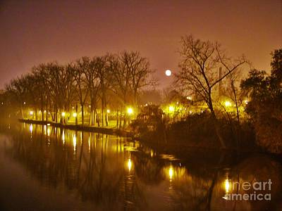 Kamm Island By Lamp Post Lights With Moonrise    Autumn      Indiana    Art Print
