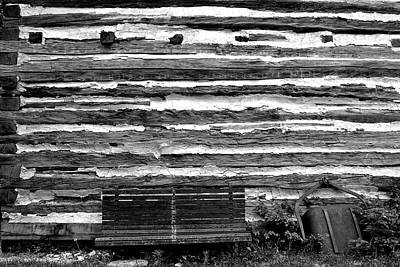 Photograph - Kammer Cabin Bench 5 Bw by Mary Bedy