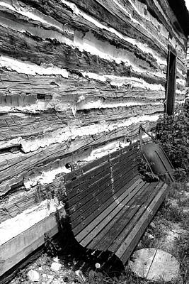 Photograph - Kammer Cabin Bench 6 Bw by Mary Bedy