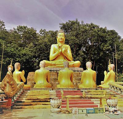 Kampong Cham - Buddha Prayers Art Print by Linda Parker
