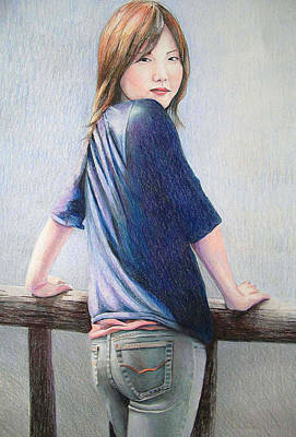 Art Print featuring the drawing Kanae In Jeans by Tim Ernst