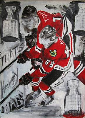Stanley Cup Painting - Kane Toews 3 Cups by John Sabey Jr