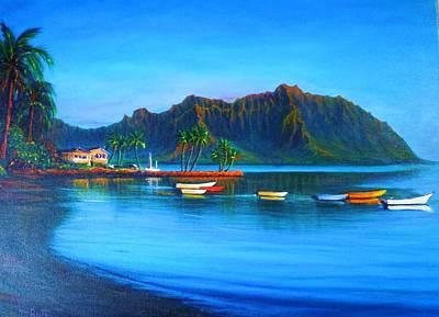 Kaneohe Bay - Early Morning Glass Art Print by Joseph   Ruff