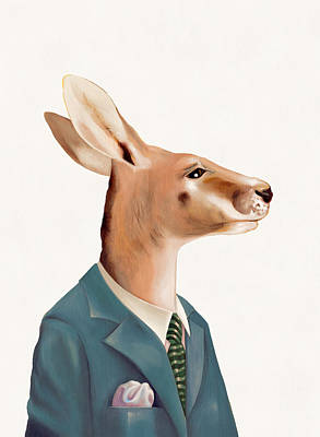 Painting - Kangaroo by Animal Crew