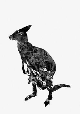 Kangaroo Digital Art - Kangaroo-black by Erzebet S