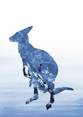 Kangaroo Digital Art - Kangaroo-blue by Erzebet S