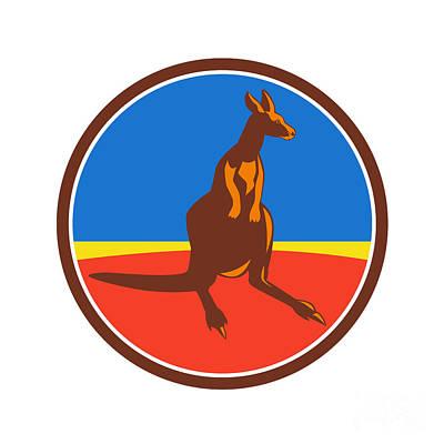 Kangaroo Digital Art - Kangaroo Circle Retro by Aloysius Patrimonio