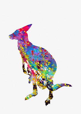 Kangaroo Digital Art - Kangaroo-colorful by Erzebet S