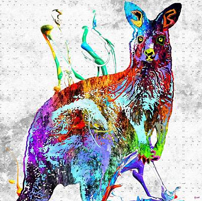 Kangaroo Mixed Media - Kangaroo Grunge by Daniel Janda