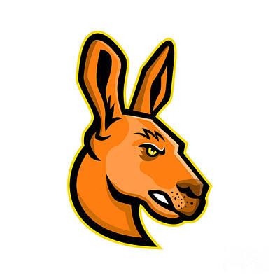 Kangaroo Digital Art - Kangaroo Head Mascot by Aloysius Patrimonio