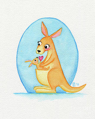Painting - Kangaroo Mother And Joey by Lisa Norris
