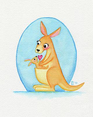 Painting - Kangaroo Mother And Joey by Lisa Norris