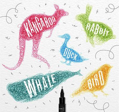 Kangaroo Drawing - Kangaroo - Rabbit - Duck - Whale - Bird In Colors by Aloke Creative Store