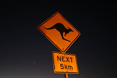 Photograph - Kangaroo Road Sign In The Northern Territory by Keiran Lusk
