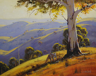 Gum Trees Painting - Kangaroo With Gum by Graham Gercken