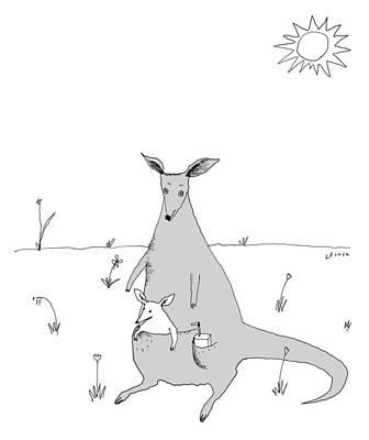 Drawing - Kangaroo With Joey And Juice Box by Liana Finck