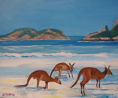 Painting - Kangaroos On The Beach by Jean Pierre Bergoeing