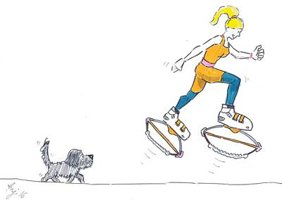 Drawing - Kangoo Jumps Bouncy Shoes Walking The Dog Keep Fit Cartoon by Mike Jory