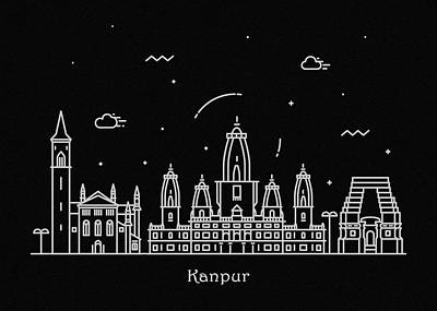 Abstract Landscape Drawing - Kanpur Skyline Travel Poster by Inspirowl Design