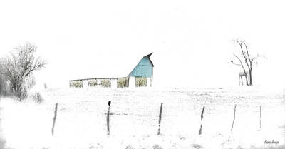 Photograph - Kansas Blue Barn In Frozen Fog by Anna Louise