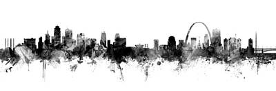 Digital Art - Kansas City And St Louis Skyline Mashup by Michael Tompsett