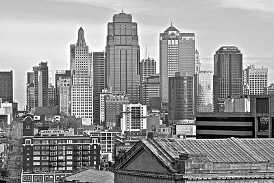 Photograph - Kansas City Black And White From Above by Frozen in Time Fine Art Photography