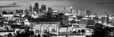 Photograph - Kansas City Black And White Skyline Panorama by Gregory Ballos
