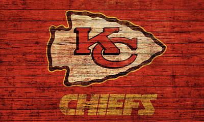Mixed Media - Kansas City Chiefs Barn Door by Dan Sproul