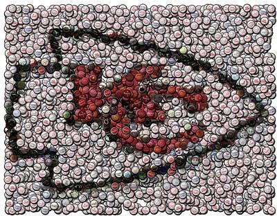 Kansas City Chiefs  Bottle Cap Mosaic Art Print by Paul Van Scott