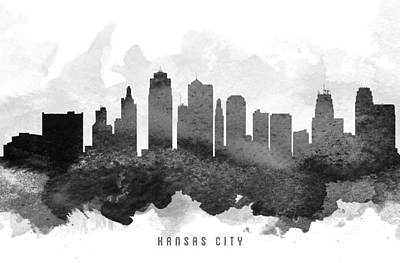 Kansas City Painting - Kansas City Cityscape 11 by Aged Pixel