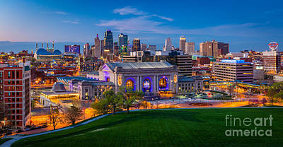 City Scenes Royalty-Free and Rights-Managed Images - Kansas City Evening Panorama by Inge Johnsson
