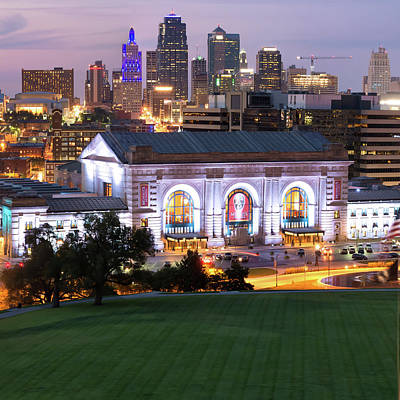 Photograph - Kansas City Evening Skyline - Square Format by Gregory Ballos