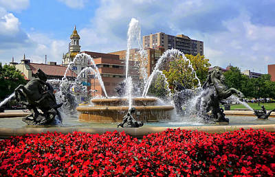 Photograph - Kansas City Fountain Ablaze In Crimson by Mitchell R Grosky