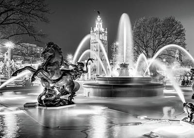 Photograph - Kansas City J.c. Nichols Fountain And Plaza - Black And White by Gregory Ballos