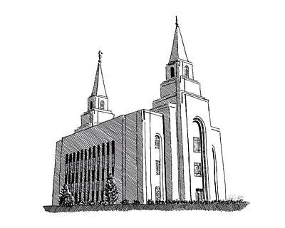 Kansas City Drawing - Kansas City Lds Temple by DSC Arts