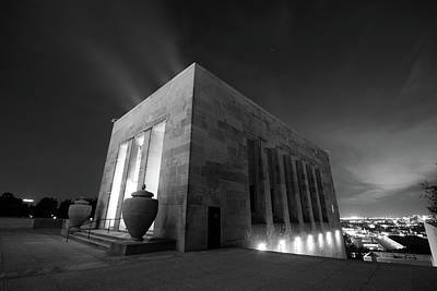 Photograph - Kansas City Liberty Memorial At Night Black And White by Gregory Ballos