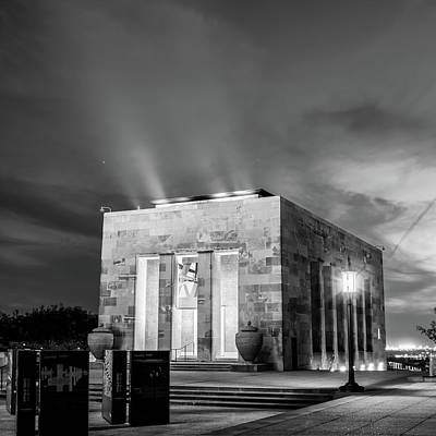 Photograph - Kansas City Liberty Memorial At Twilight Black And White by Gregory Ballos