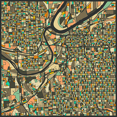 Kansas City Digital Art - Kansas City Map 2 by Jazzberry Blue